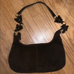 Brown suede butterfly purse